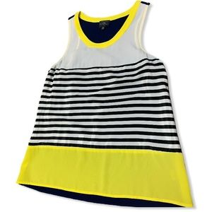 MARKET & SPRUCE SLEEVELESS NAVY AND YELLOW TOP